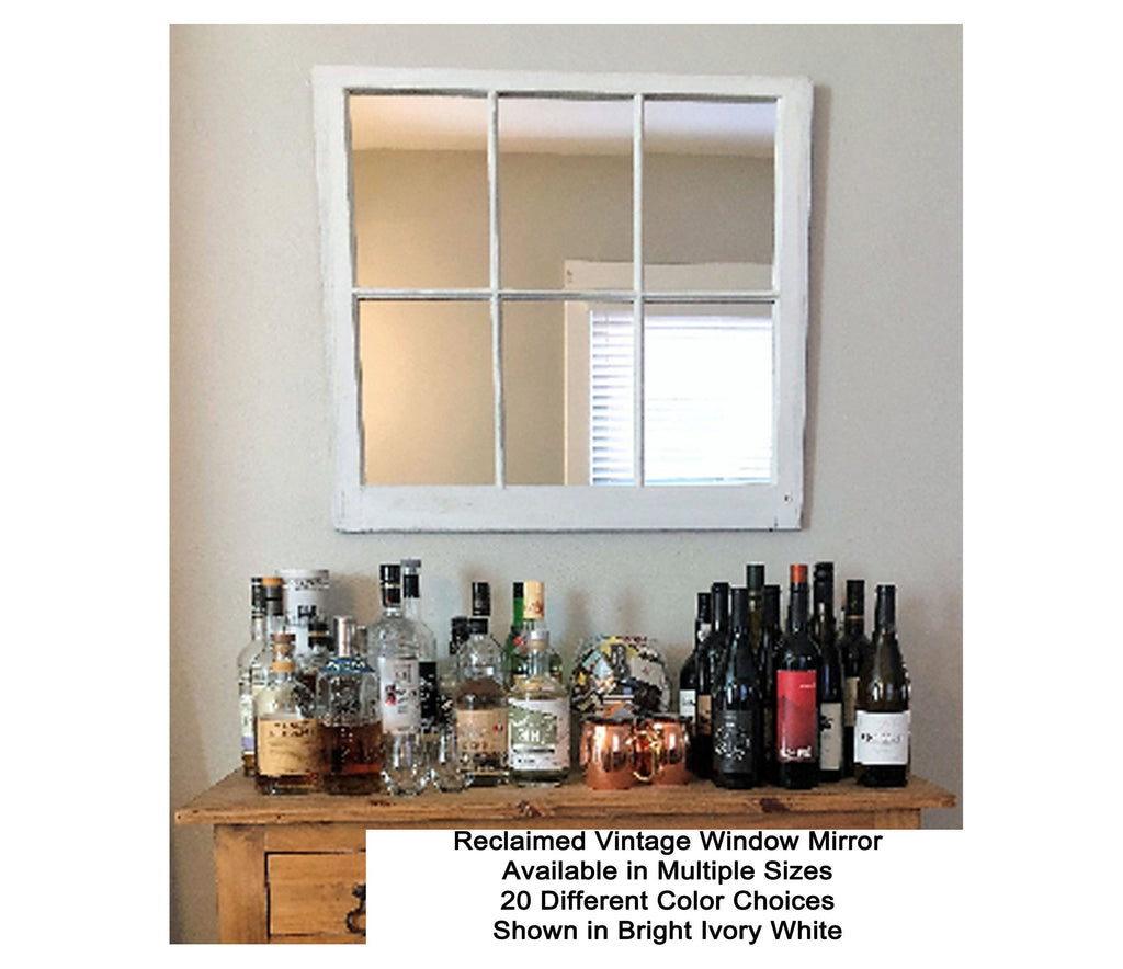 Mirror Wall Decor, Reclaimed Wood Window Mirror – 6 Pane Frame – Decorative Mirror – Vintage Mirror – Rustic - Renewed Decor & Storage