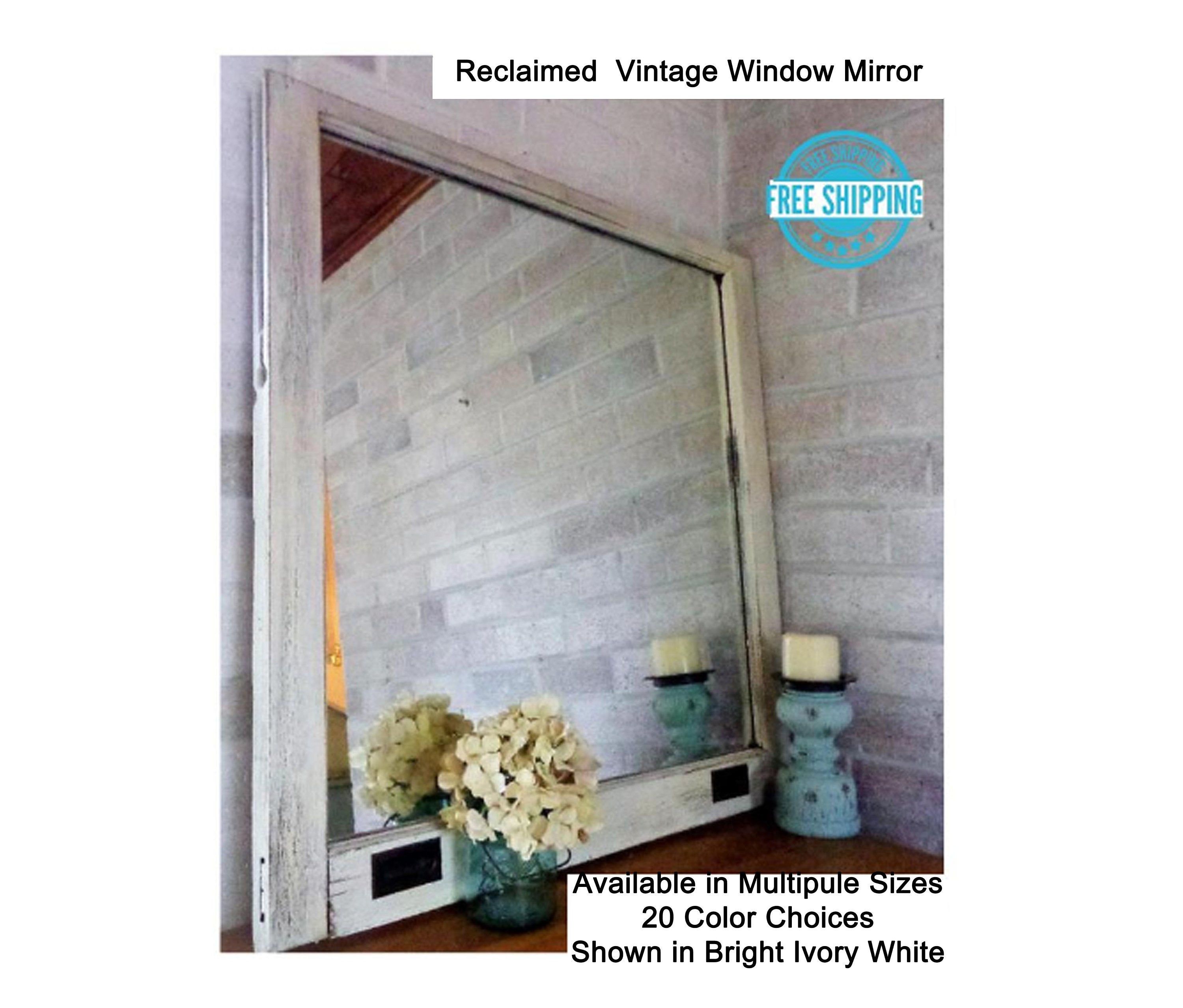 Rustic Country Single Pane with HANDLES Window Mirror - Renewed Decor & Storage