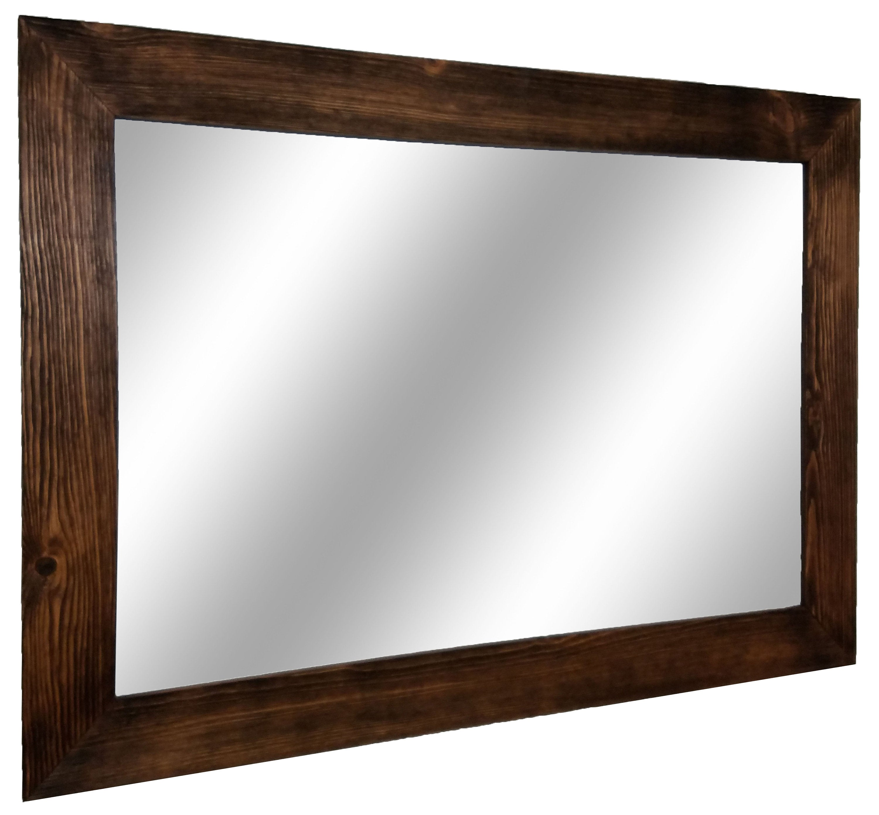Shiplap Reclaimed Wood Mirror Shown in Special Walnut, Available in 20 Stains - Renewed Decor & Storage