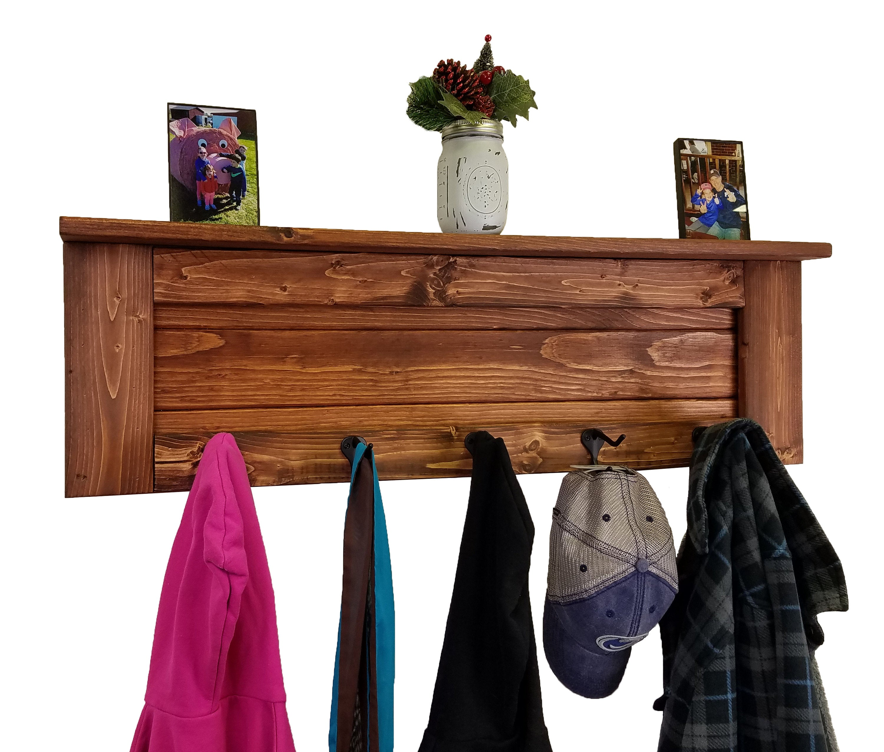 Chapel Hill Wall Rack with Shelf, 20 Stain Colors - Renewed Decor & Storage