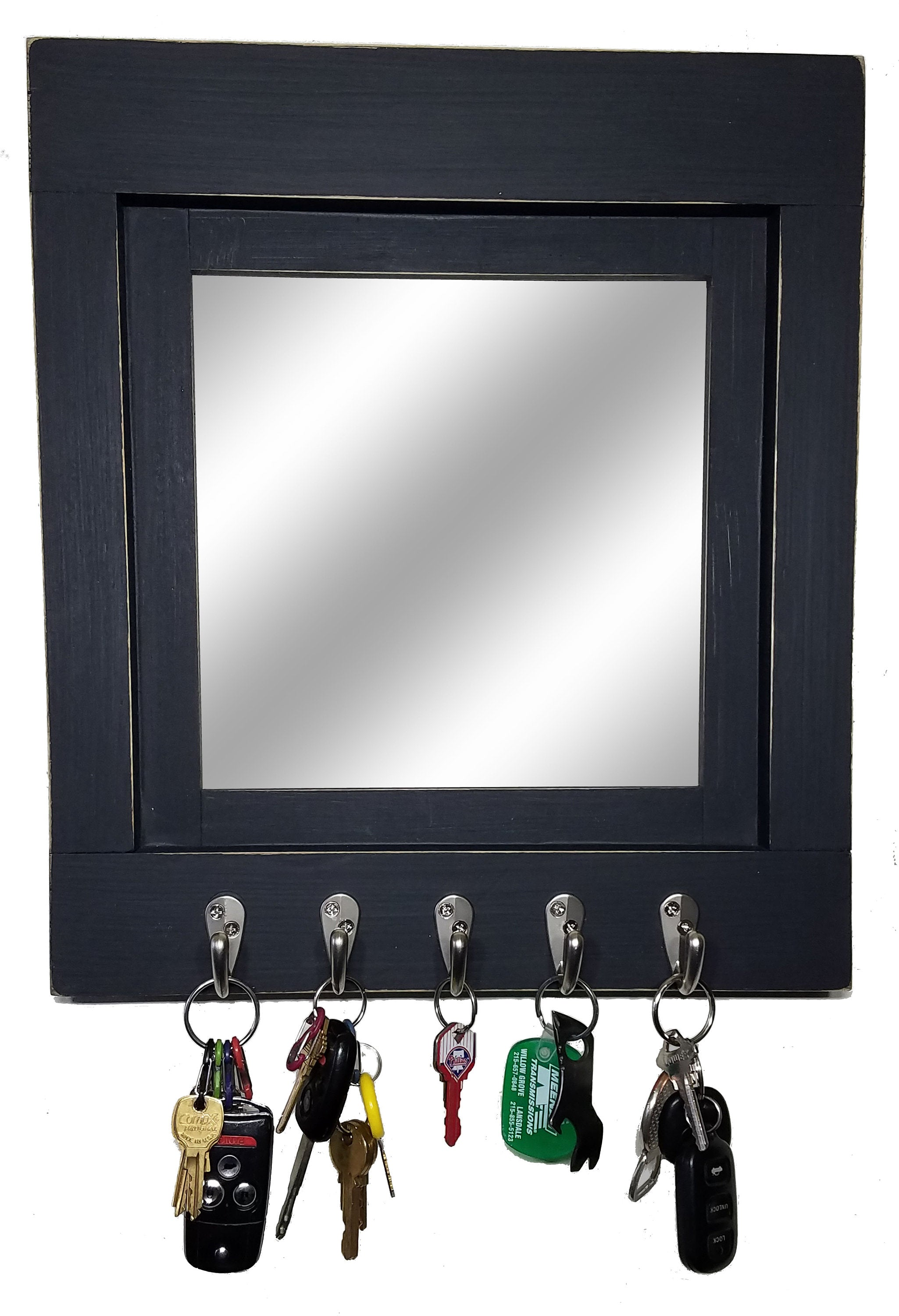 Quakertown Farmhouse Mirror With Hooks, 20 Paint Colors - Renewed Decor & Storage