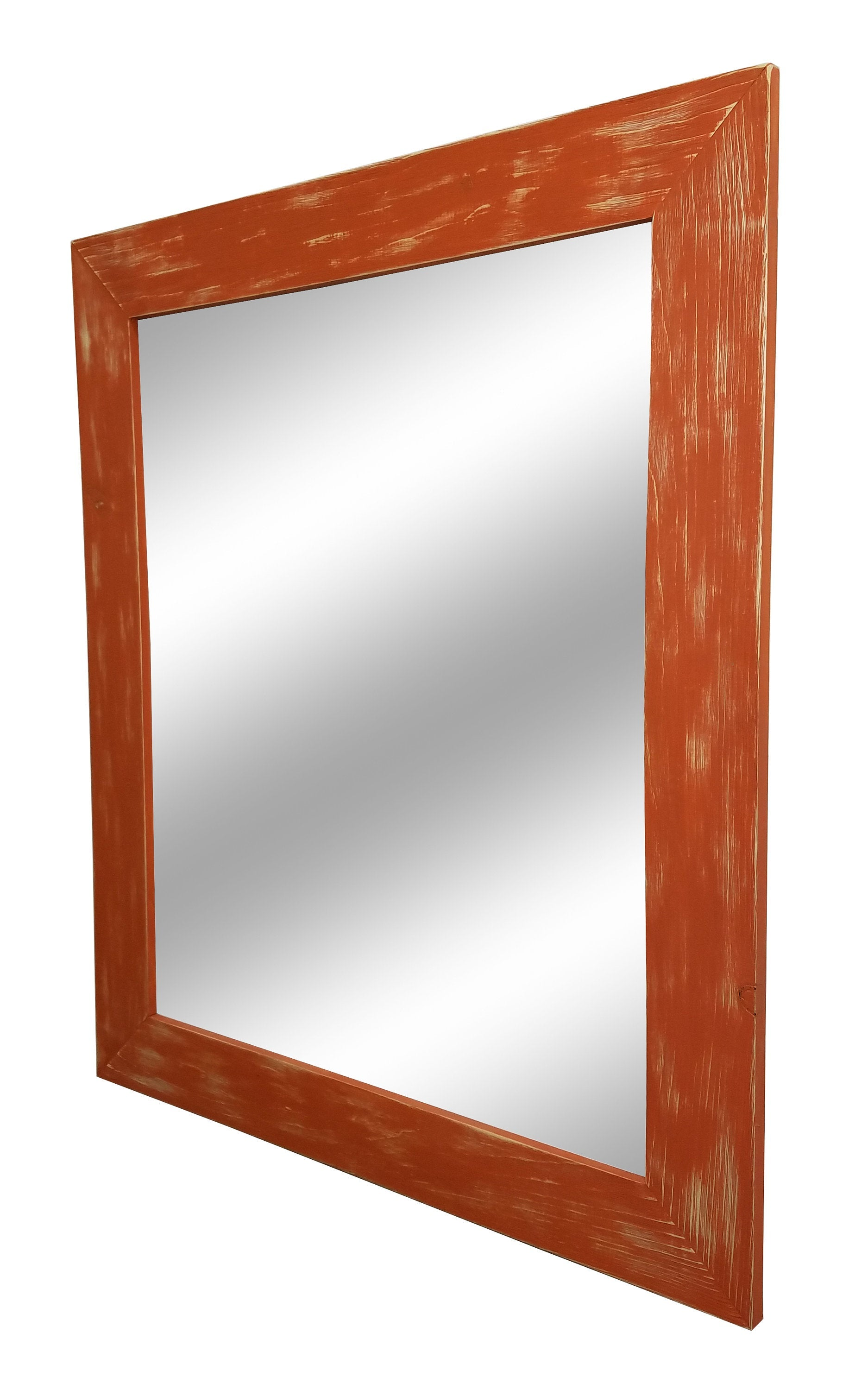 Shiplap Reclaimed Wood Mirror Shown in Burnt Orange, 4 Sizes & 20 Colors - Renewed Decor & Storage