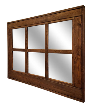 Herringbone 6 Pane Window Mirror, 20 Stain Colors - Renewed Decor & Storage