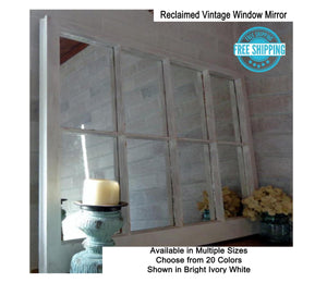 Rustic Country 8 Pane Window Mirror - Renewed Decor & Storage