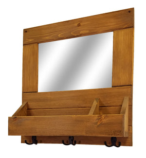 York Farmhouse Entryway Mirror Wall Cubby Organizer with Hooks - Renewed Decor & Storage