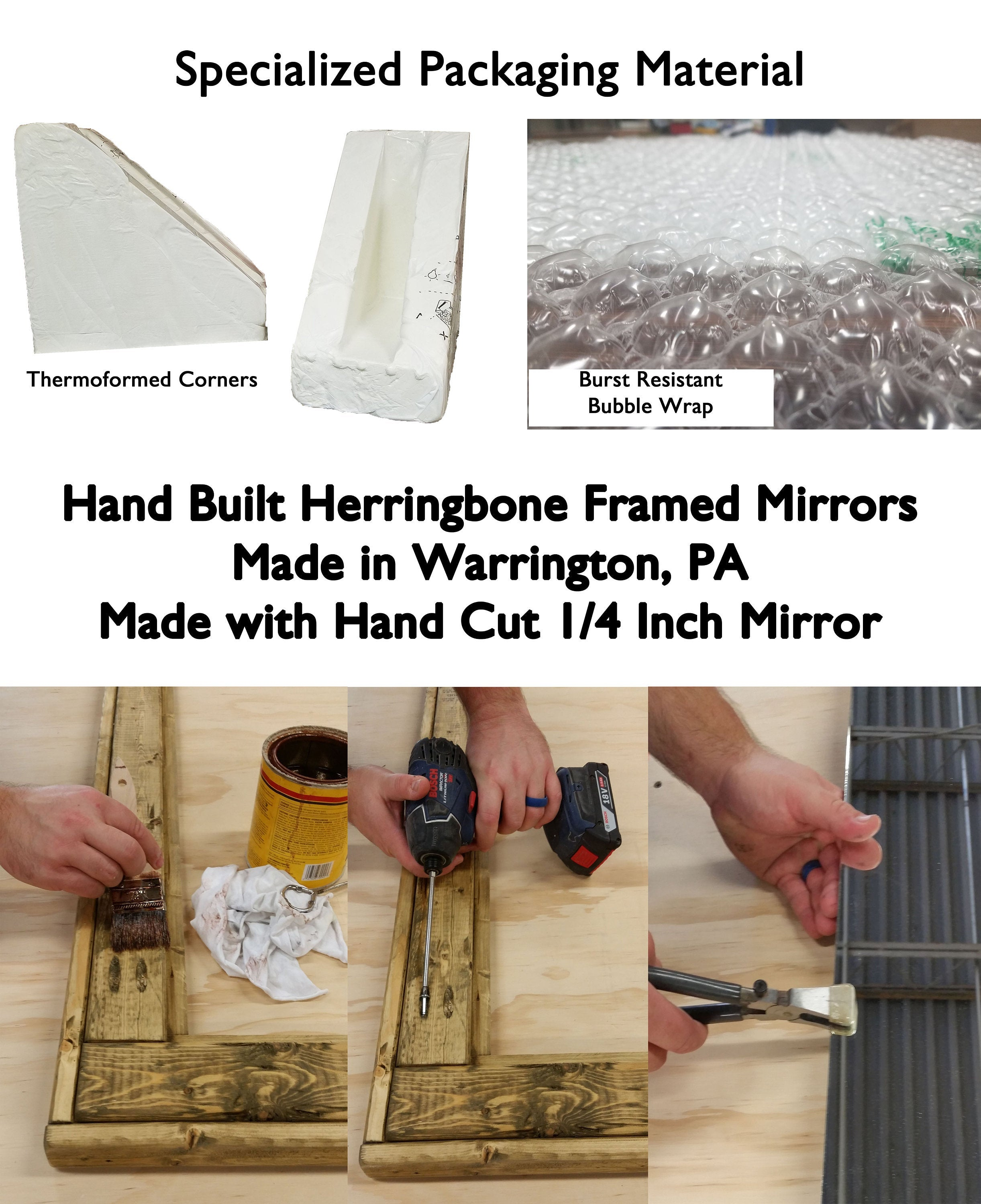 Square Herringbone Reclaimed Wood Mirror - Renewed Decor & Storage