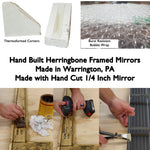 Custom Sized Herringbone Reclaimed Wood Framed Mirror, 20 Paint Colors - Renewed Decor & Storage