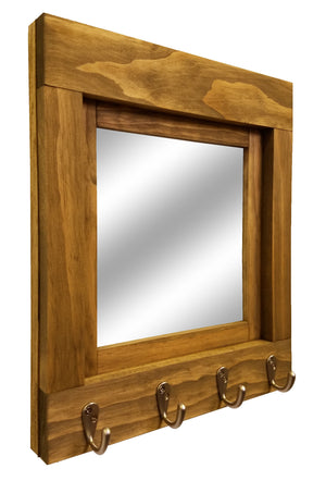 Quakertown Farmhouse Mirror With Hooks, 20 Stain Colors - Renewed Decor & Storage