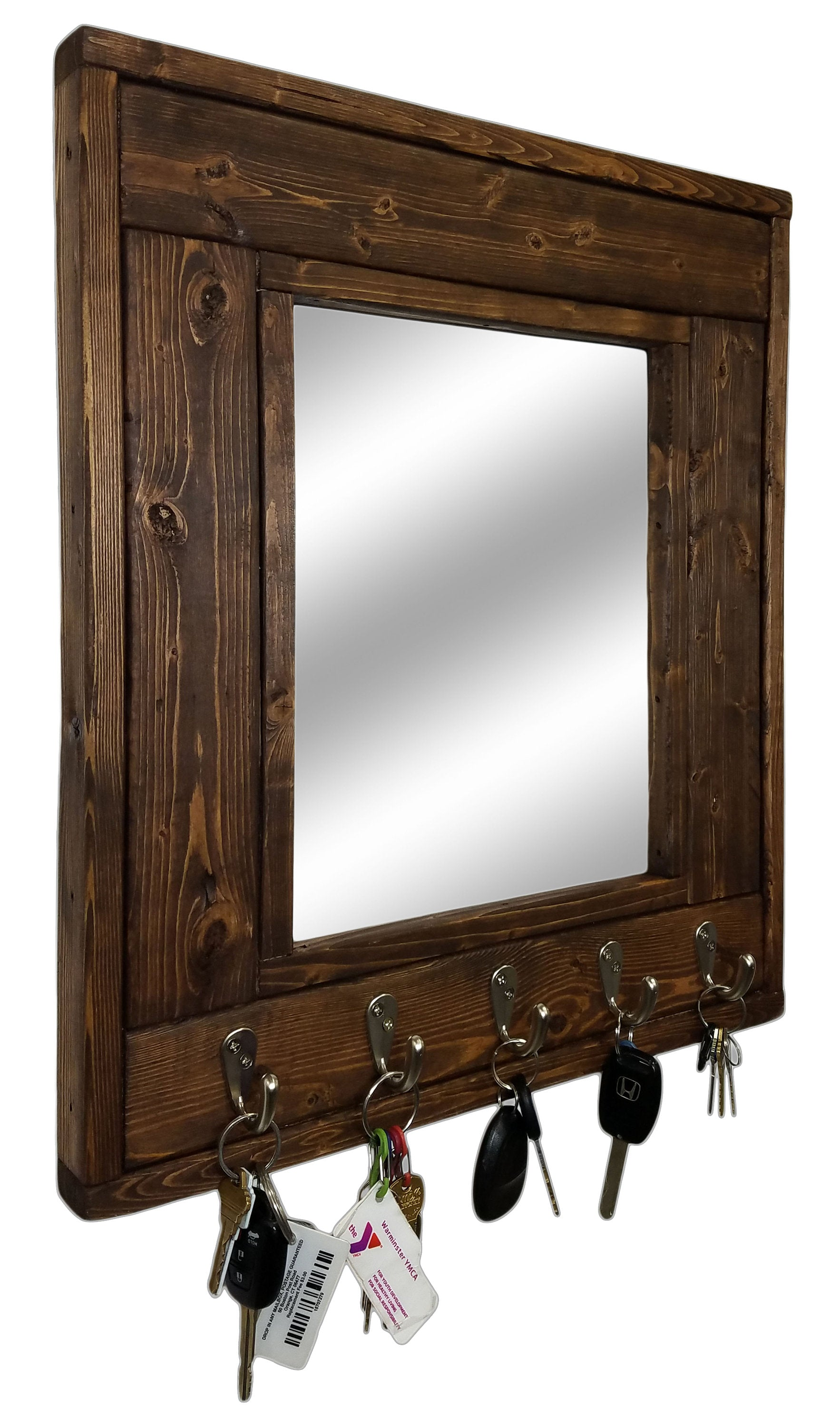 Millwood Mirror with Hooks, 20 Stain Colors - Renewed Decor & Storage