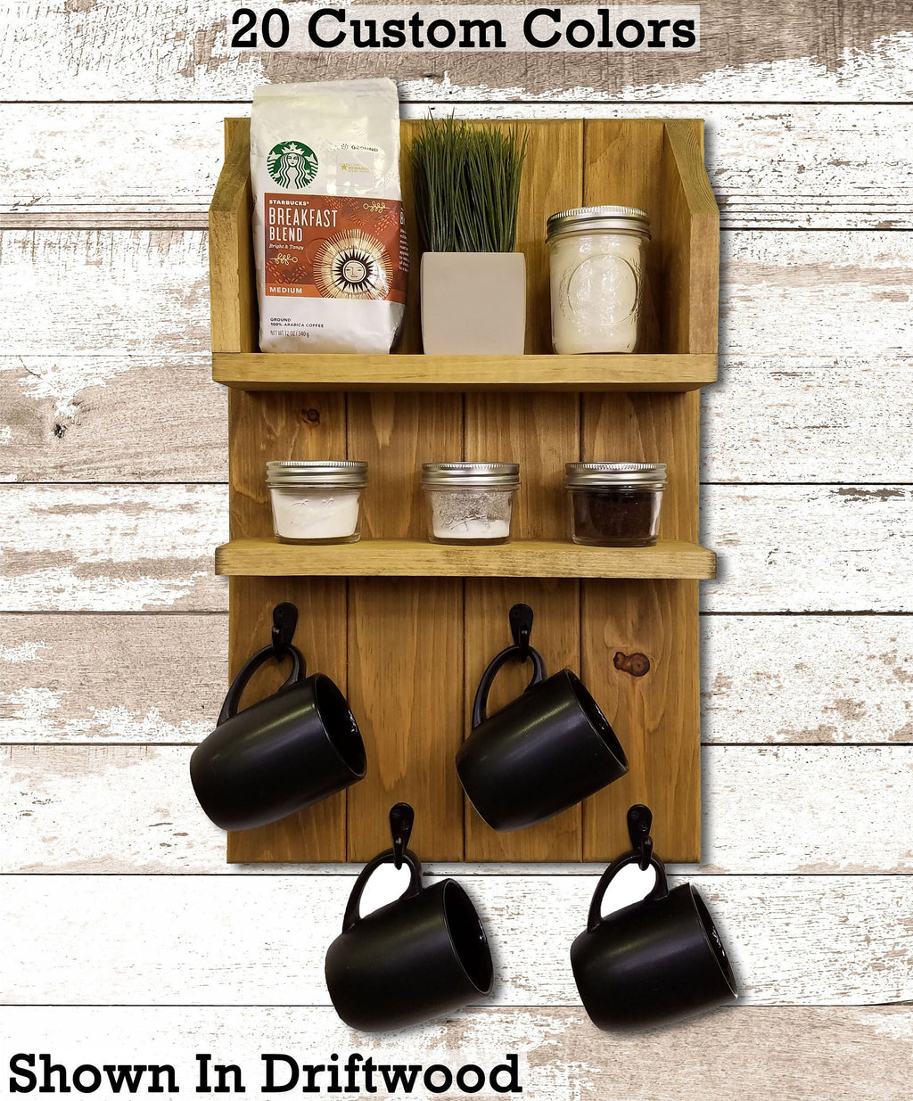 Sunrise Coffee & Tea Wall Organizer Station - Renewed Decor & Storage