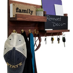Restyled Memo Chalkboard Farmhouse Mail Organizer with Hooks, Entryway Organizer - Renewed Decor & Storage