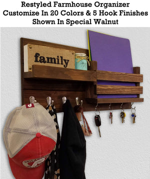 Restyled Farmhouse Mail Organizer with Hooks Entryway Organizer, Key Holder for Wall, Wall Shelf - Renewed Decor & Storage