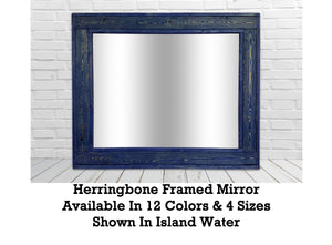Herringbone Reclaimed Wood Mirror, 13 Colored Stains - Renewed Decor & Storage