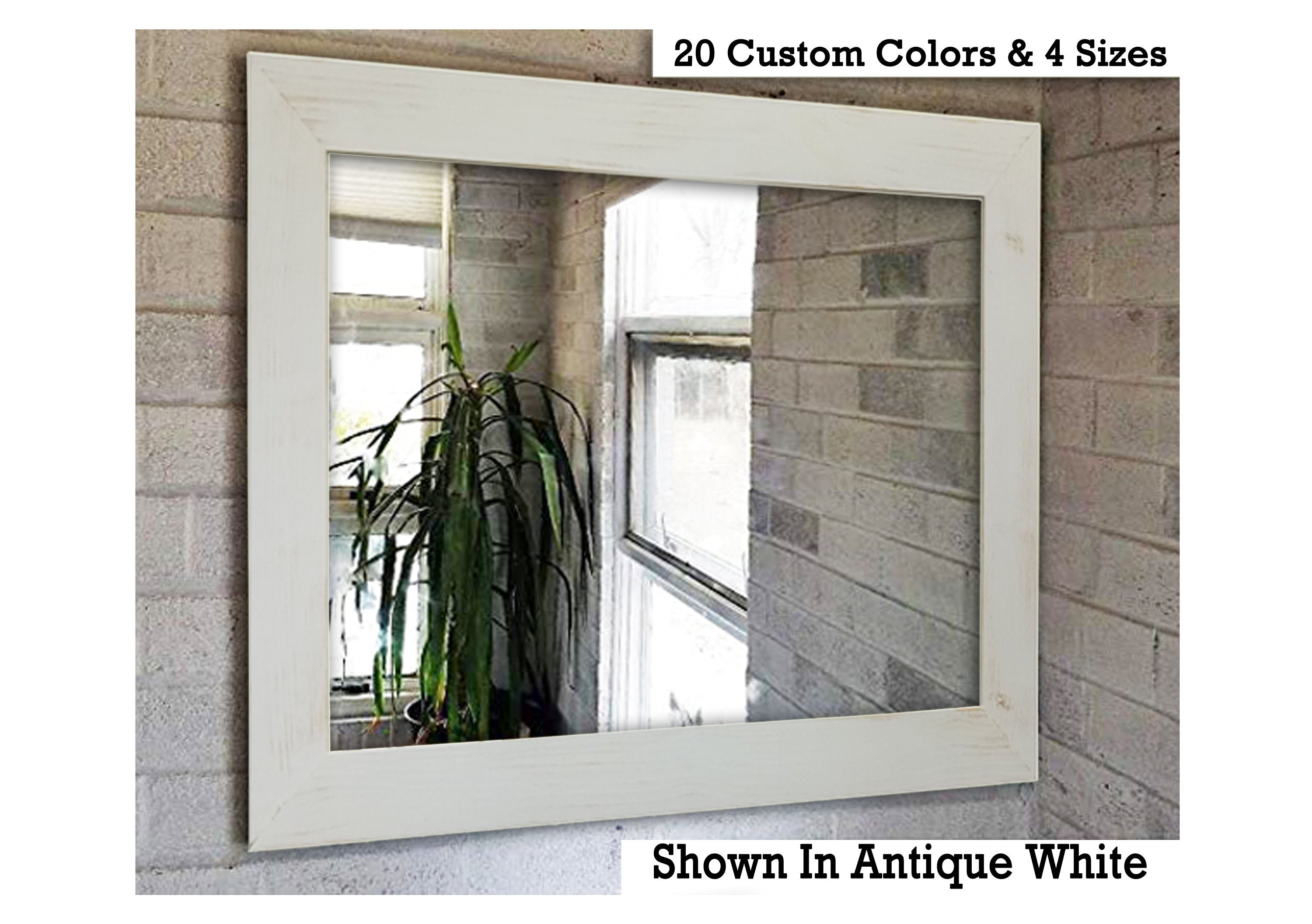 Shiplap Reclaimed Wood Mirror Shown in Antique White, 4 Sizes & 20 Colors - Renewed Decor & Storage