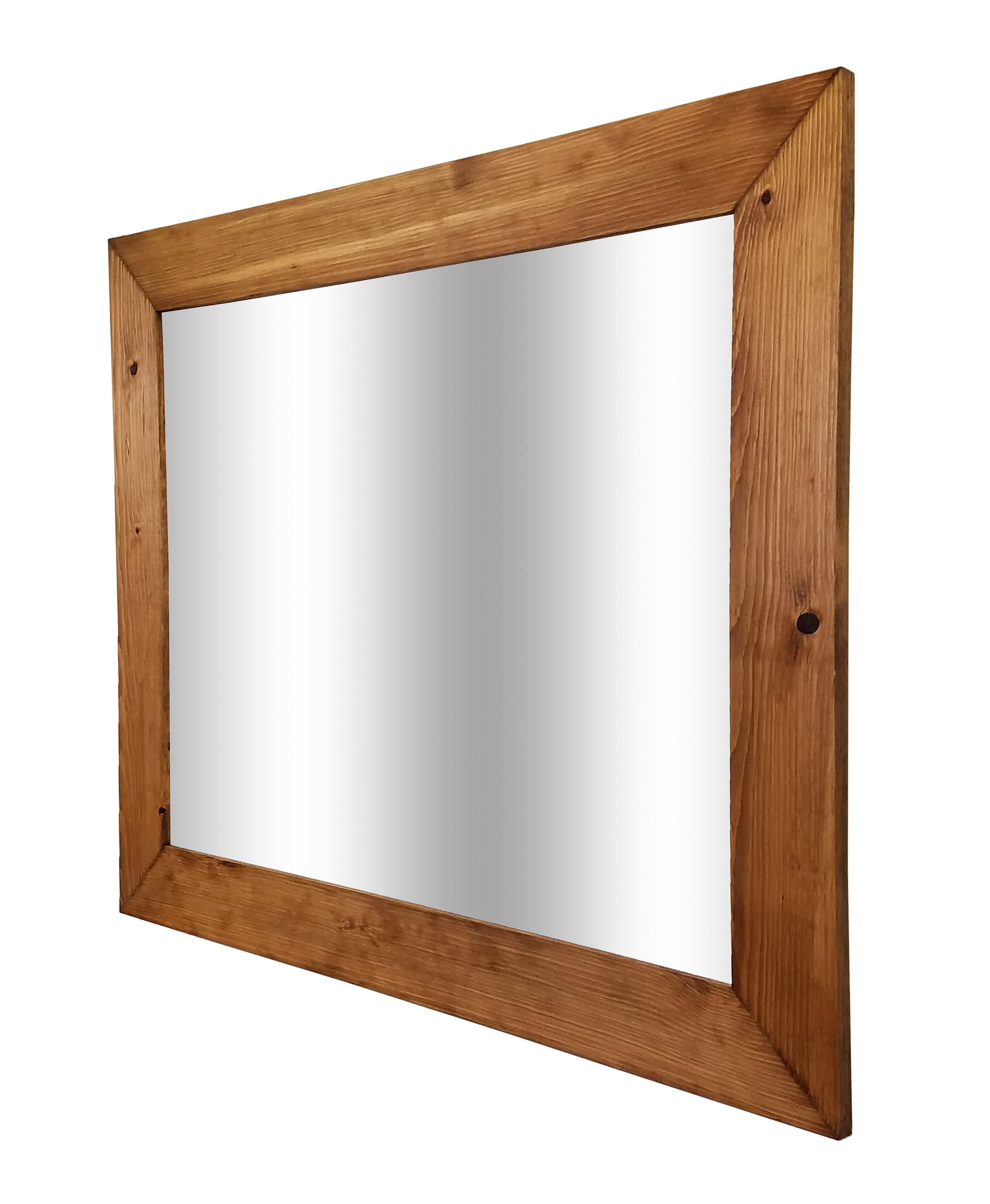 Shiplap Reclaimed Wood Mirror Shown in Early American, 4 Sizes & 20 Stains - Renewed Decor & Storage