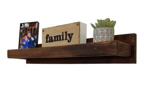Herringbone Floating Wall Shelf, 20 Stain Colors - Renewed Decor & Storage