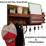 Restyled Farmhouse Mail Organizer with Hooks, Entryway Organizer, Key Holder for Wall, Wall Shelf - Renewed Decor & Storage