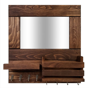 Bristol Organizer, Mirror, Mail Holder, Shelf with Hooks - 20 Stain Colors - Renewed Decor & Storage