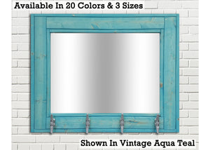 Boat House Row Mirror with Boat Cleats, 33 Stain Colors - Renewed Decor & Storage