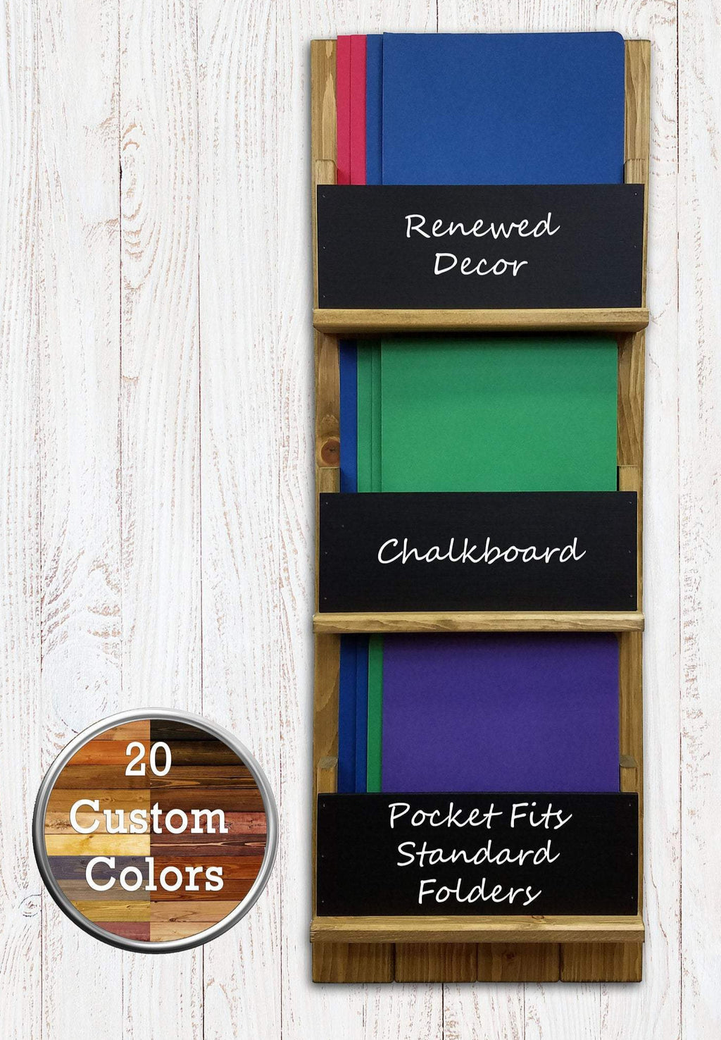 Sydney Paper, Magazine or Folder Organizer with Chalkboards Customize with up 4 key hooks, Available in 20 Colors Shown in Driftwood - Renewed Decor & Storage