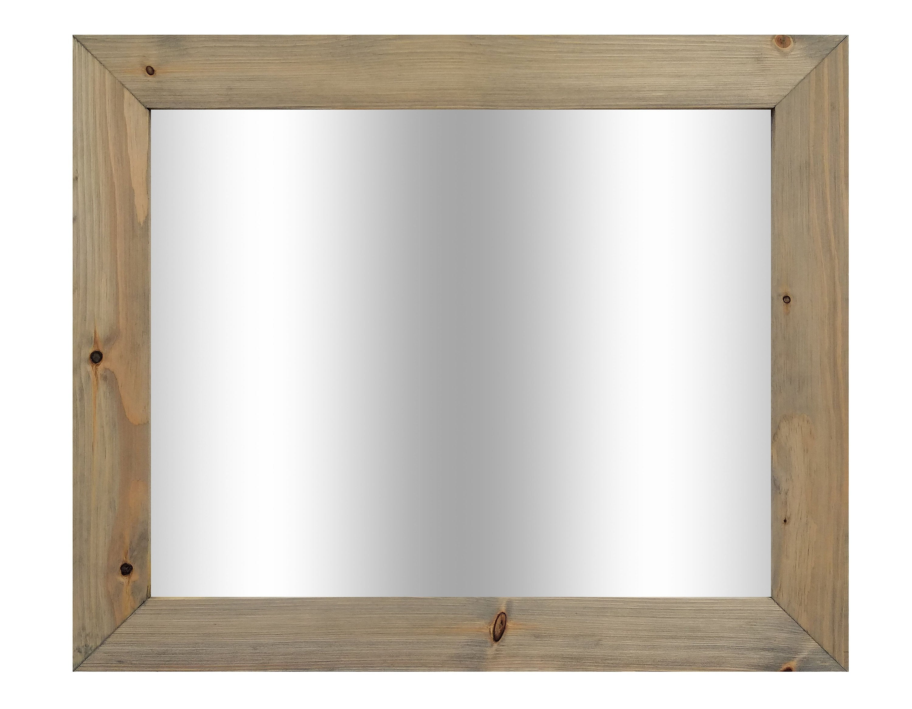 Shiplap Reclaimed Wood Mirror Shown in Weathered Oak, 4 Sizes & 20 Stains - Renewed Decor & Storage