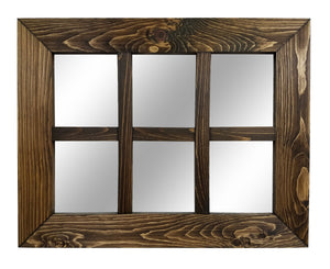Mirror Wall Decor, Shiplap Window Mirror 6 Pane - Renewed Decor & Storage