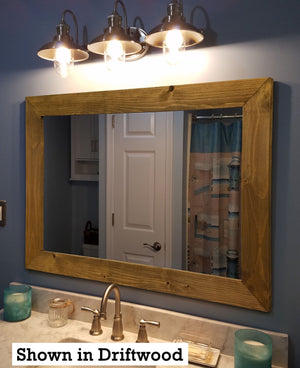 Custom Sized Shiplap Framed Mirror - 20 Stain Colors - Renewed Decor & Storage