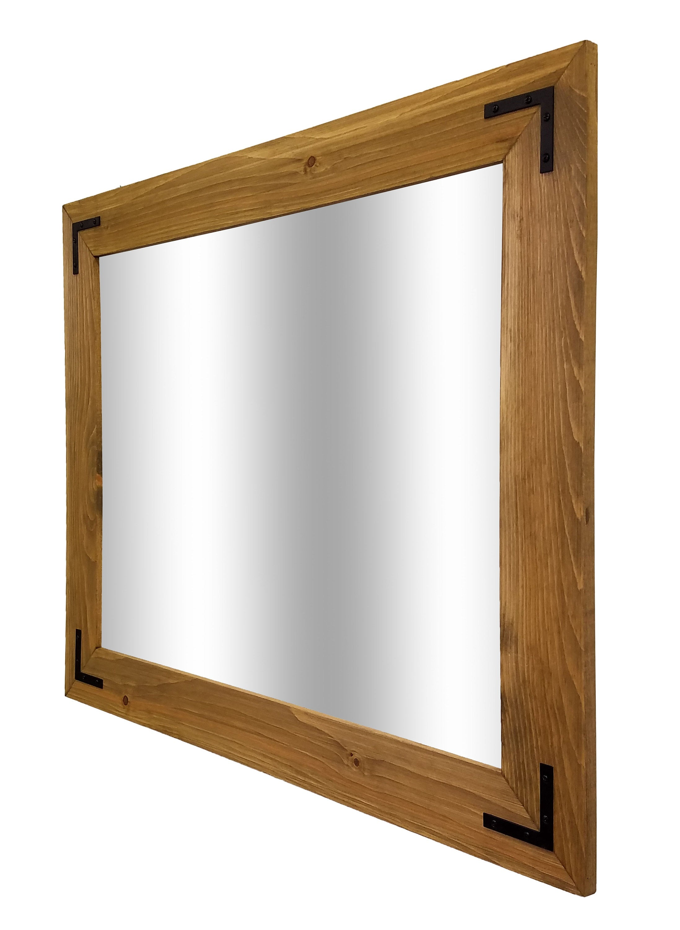 Accent Bracket Shiplap Reclaimed Wood Mirror - 20 Stain Colors - Renewed Decor & Storage