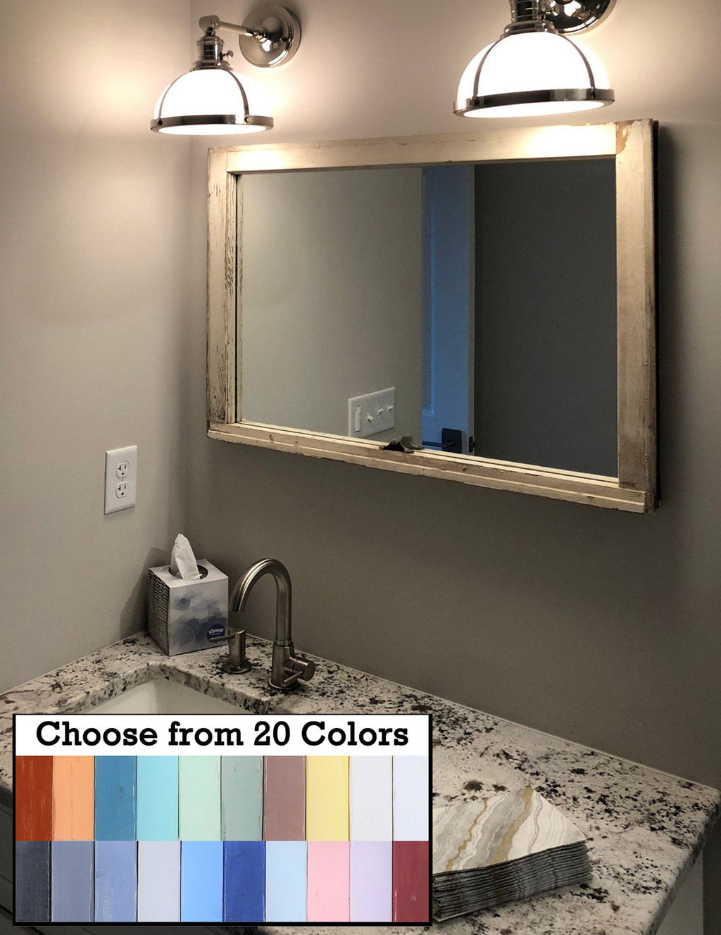Mirror Wall Decor, Reclaimed Wood Window Mirror – Single Pane Frame – Decorative Mirror – Vanity Mirror – 20 Colors - Renewed Decor & Storage