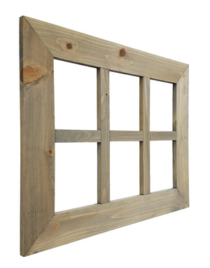 6 Pane Shiplap Rustic Wood Frame Wreath Holder - 20 Stain Colors - Renewed Decor & Storage