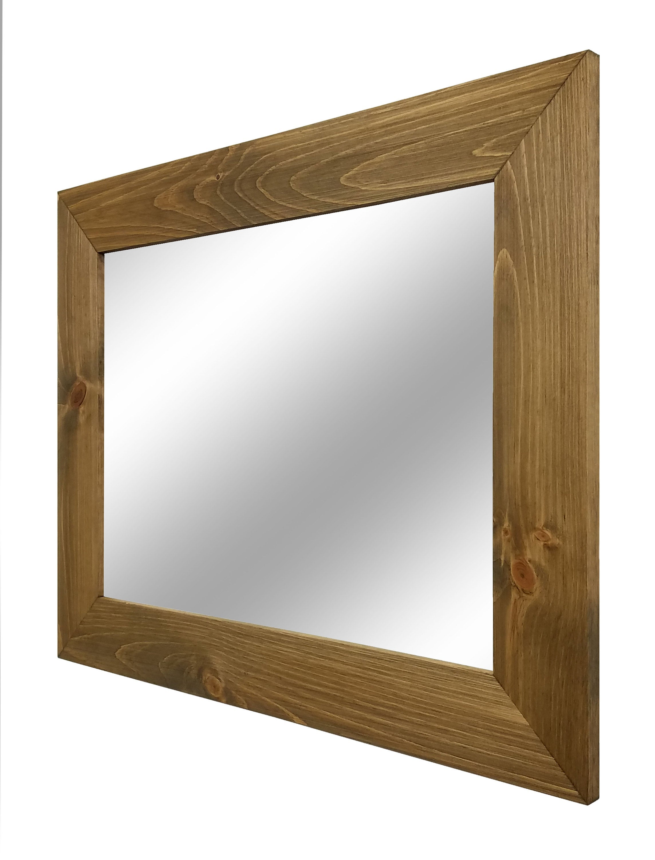 Shiplap Reclaimed Wood Mirror Shown in Driftwood, 4 Sizes & 20 Stains - Renewed Decor & Storage