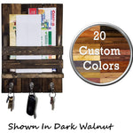 Sydney Slat Front, Mail Holder Organizer and Key Holder, Available with up to 3 Single Key Hooks – 20 Custom Colors: Shown in Dark Walnut - Renewed Decor & Storage