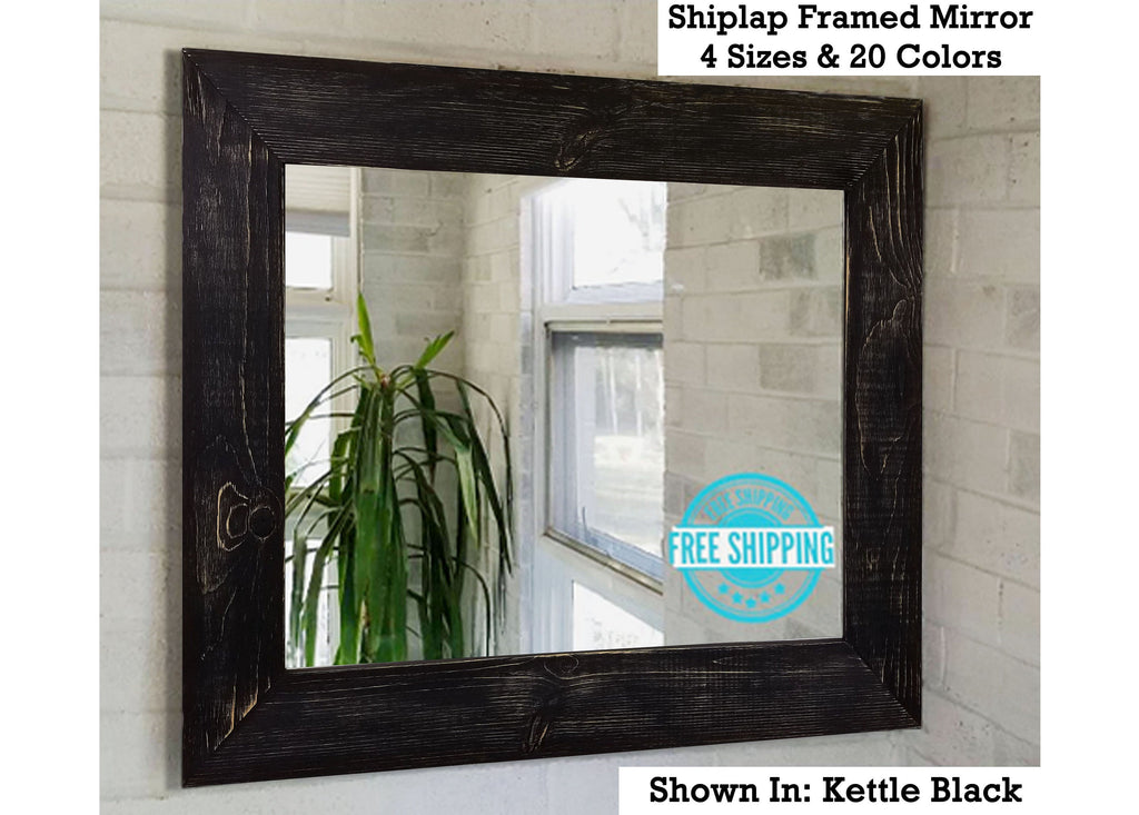 Shiplap Reclaimed Wood Framed Mirror - Renewed Decor & Storage