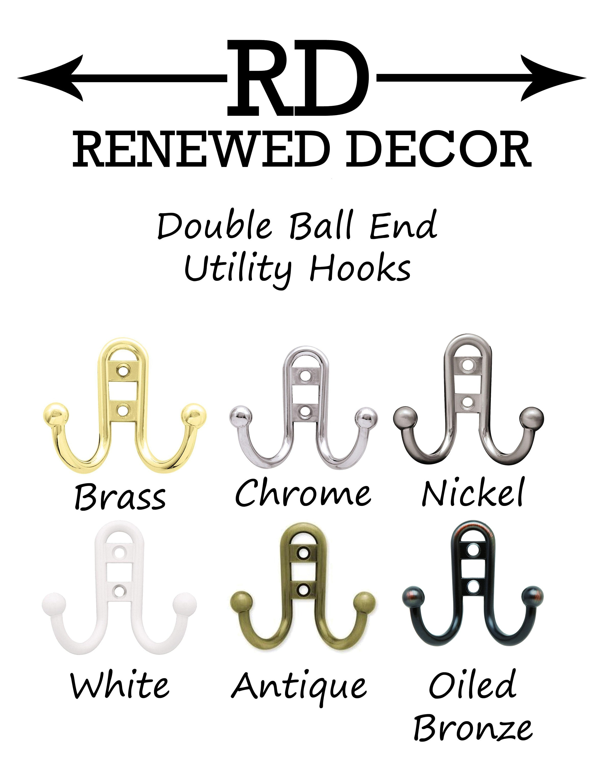Countryside Double Utility Hook Rack - 20 Paint Colors - Renewed Decor & Storage