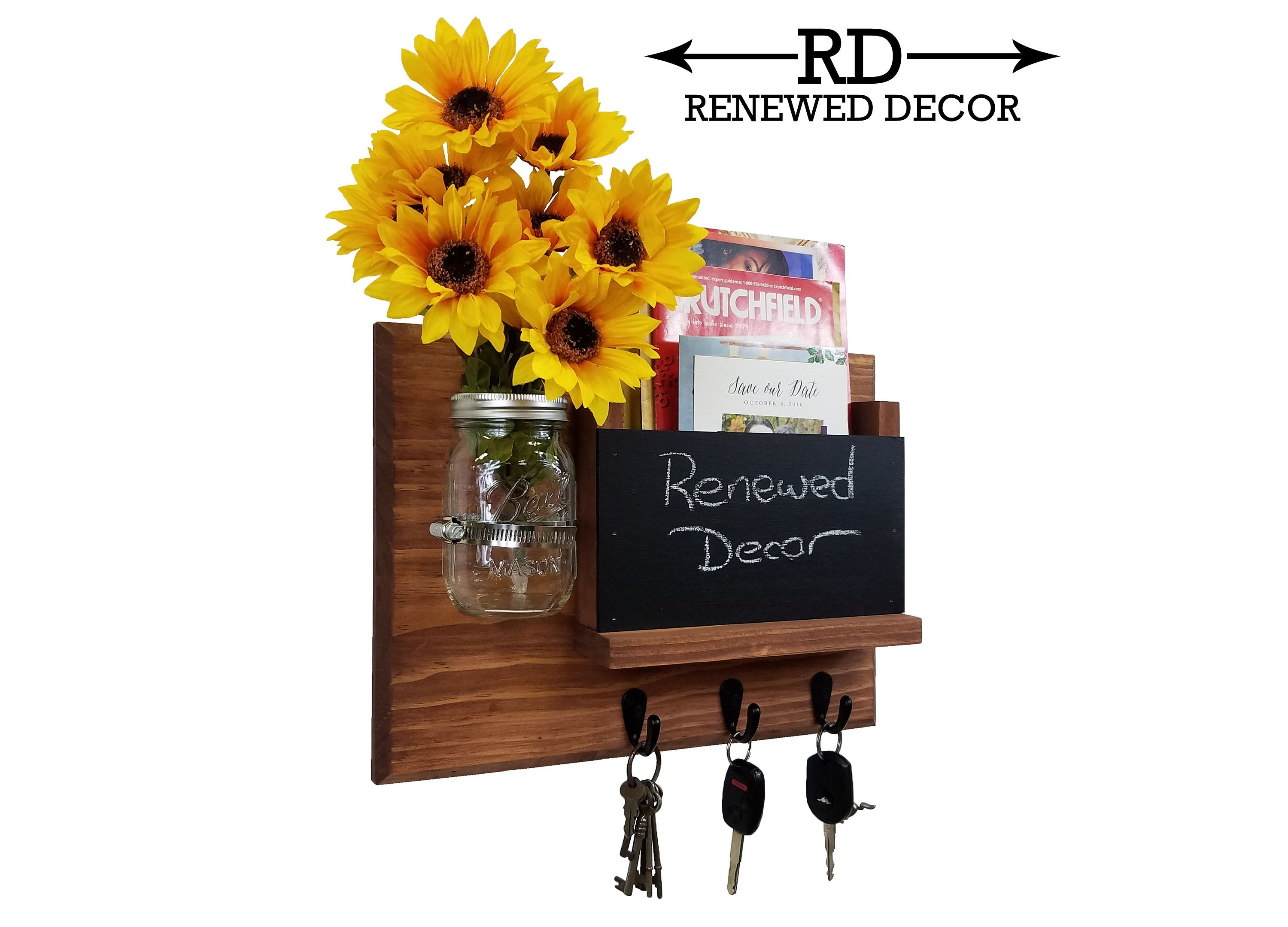 Jefferson Organizer, Chalkboard, Hooks & Decorative Mason Jar, 20 Stain Colors - Renewed Decor & Storage