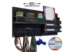 Classic Farmhouse Rustic Wall Mountedl Organizer - 20 Paint Colors - Renewed Decor & Storage