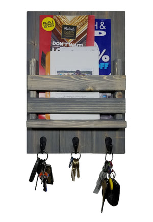Sydney Slat Front, Mail Holder Organizer and Key Holder, Available with up to 3 Single Key Hooks – 20 Custom Colors: Shown in Classic Gray - Renewed Decor & Storage
