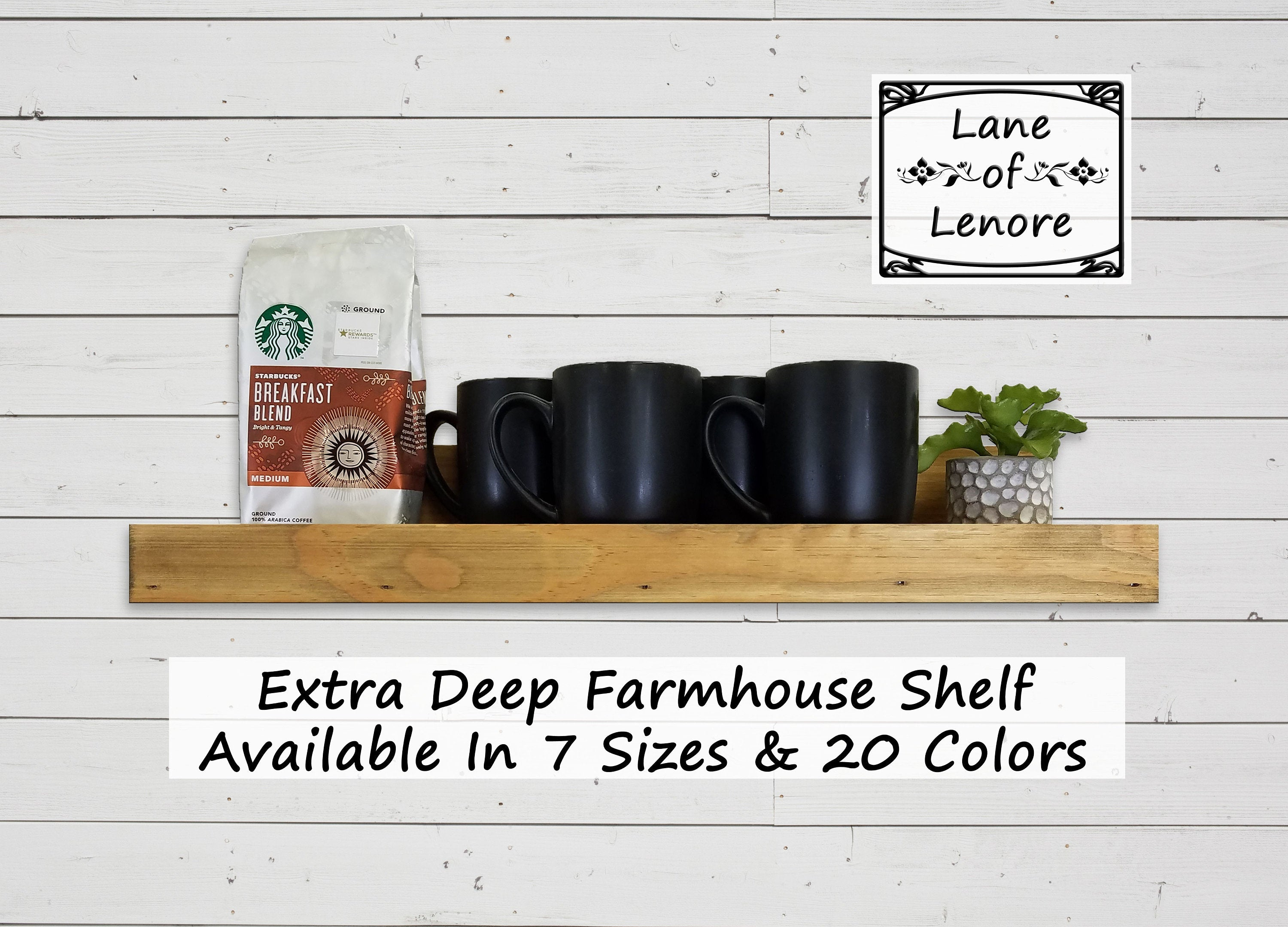 Extra Deep Farmhouse Shelf With Ledge - 20 Stain Colors - Renewed Decor & Storage