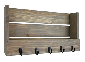 Mill Barn Wall Organizer with Hooks, 20 Stain Colors - Renewed Decor & Storage