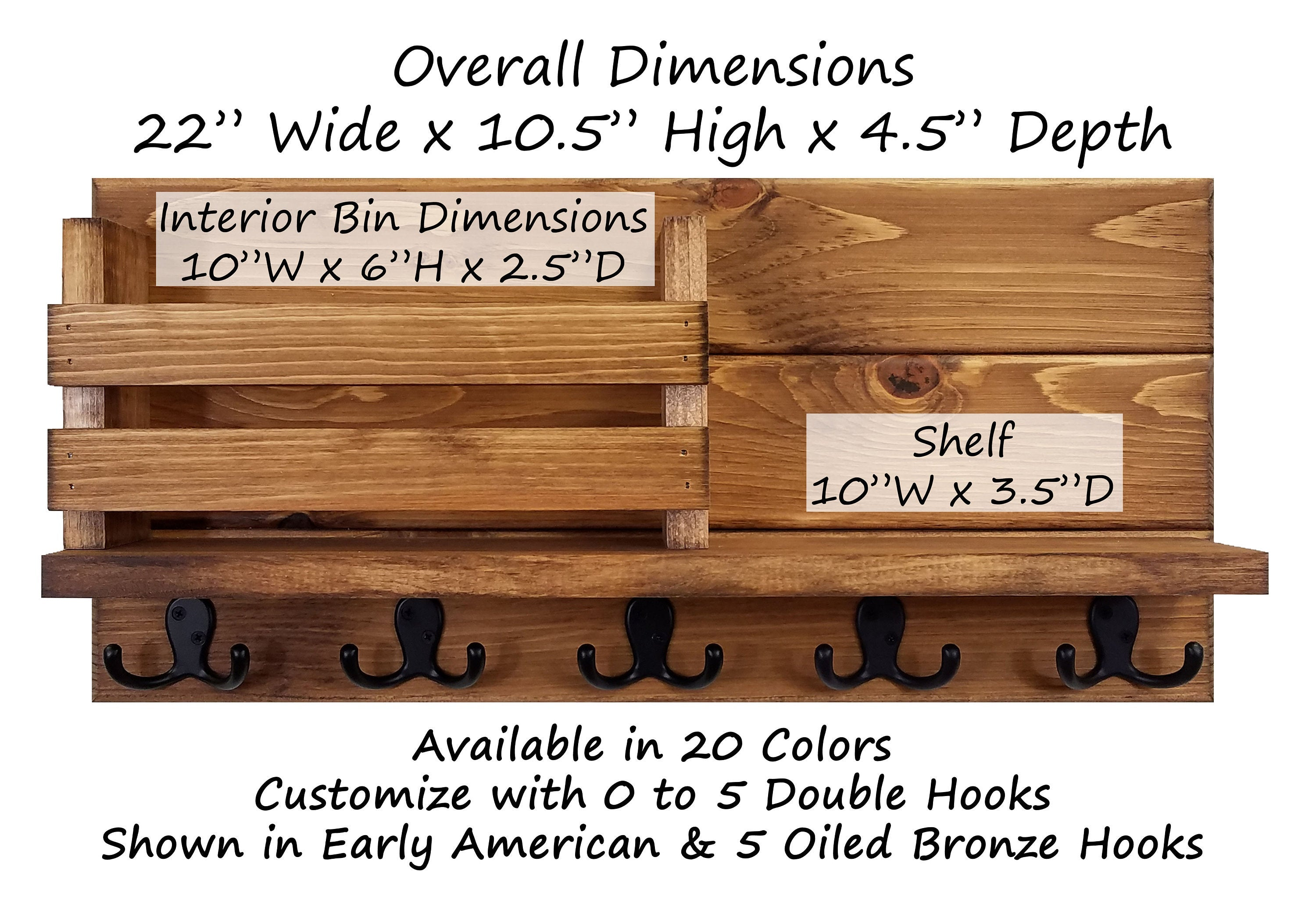 Discovery Organizer, Mail Bin, Key Holder & Floating Shelf - 20 Stain Colors - Renewed Decor & Storage