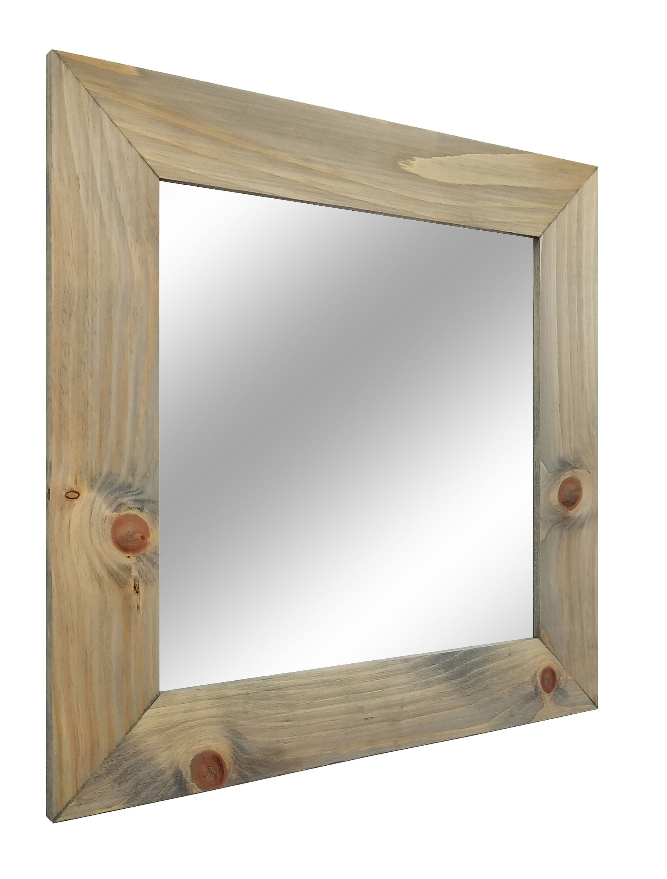 Square Shiplap Wood Framed Mirror - Renewed Decor & Storage