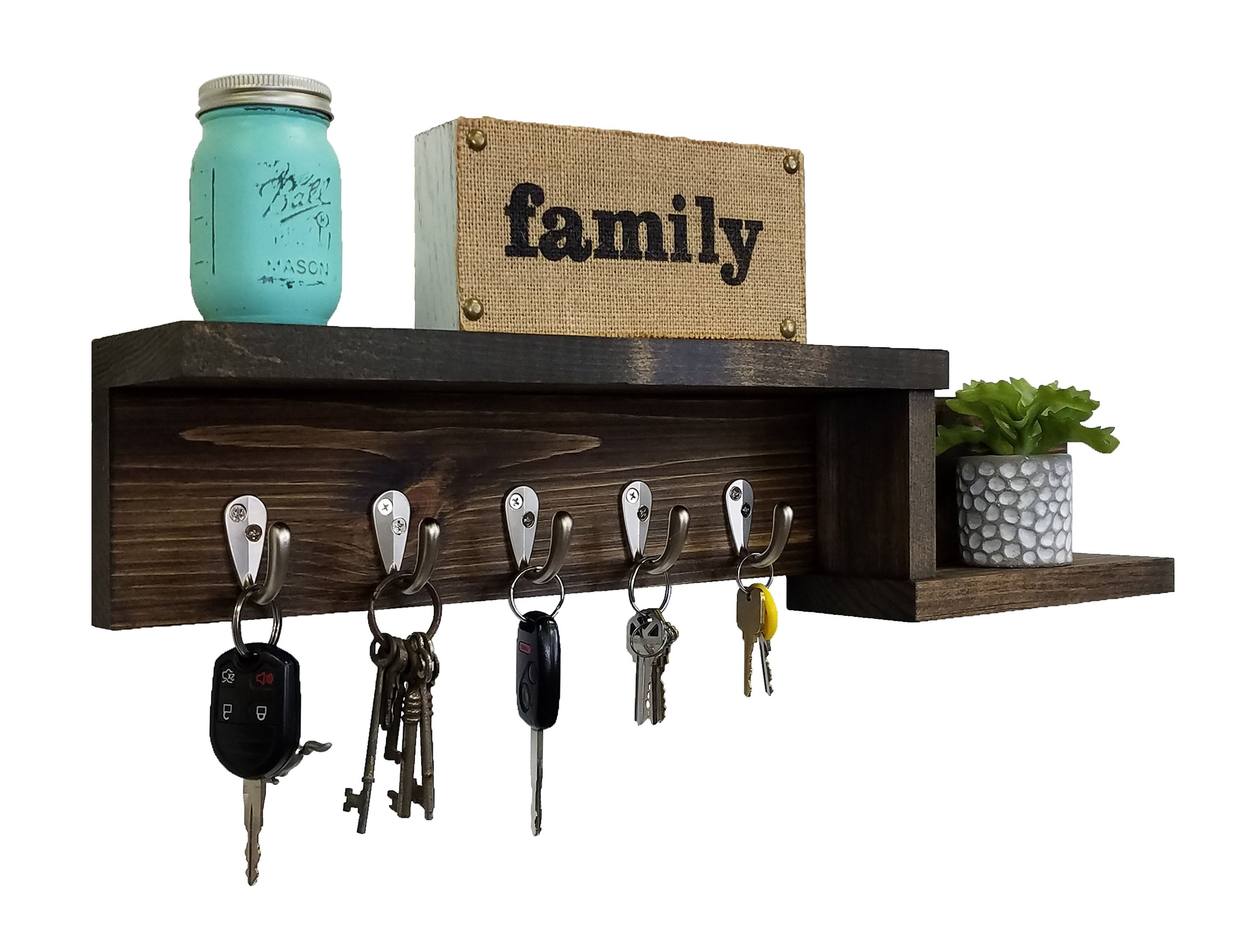 Allen Street Floating Shelf, Key Hooks and Wall Organizer - 20 Stain Colors - Renewed Decor & Storage