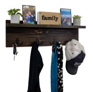 Modern Rustic Wall Shelf With Hooks, Display Shelf, Coat Hooks, Key Hooks, Entryway Home Decor - Renewed Decor & Storage