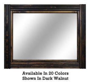 Mid Century Modern Wood Framed Mirror, 20 Stain Colors - Renewed Decor & Storage