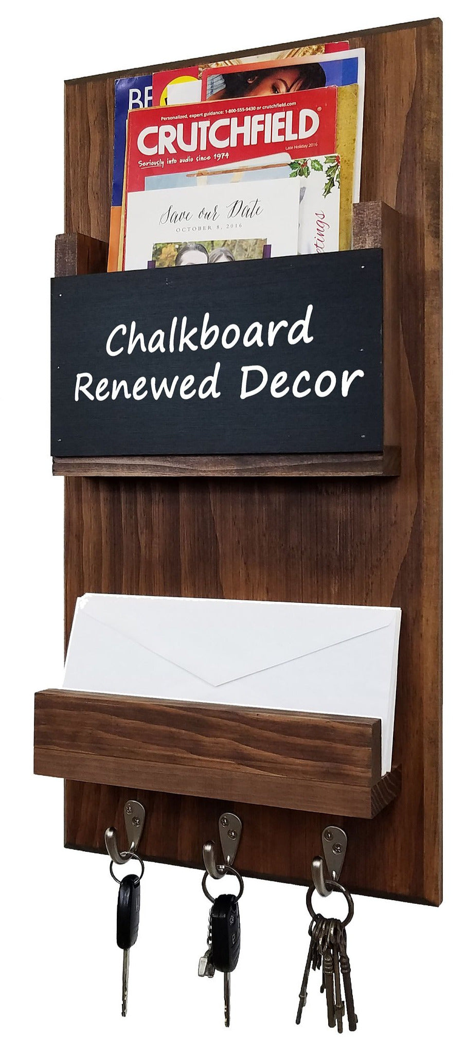 Urban Mail Organizer Memo Chalkboard, Shelf, Wall Hooks, Mail & Key Organizer, Entryway Wall Organizer - Renewed Decor & Storage