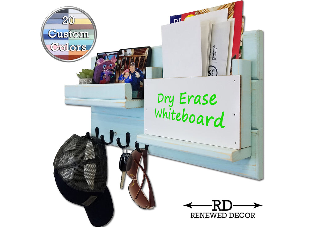 Dry Erase Whiteboard Classic Farmhouse Wall Mounted Organizer - 20 Paint Colors - Renewed Decor & Storage