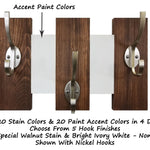 Easton Wall Mounted Hook Rack - 20 Stain Colors & 20 Accent Paint Colors - Renewed Decor & Storage