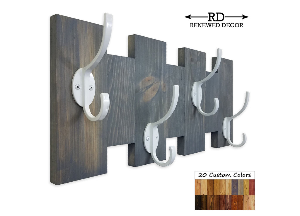 Easton Wall Mounted Hook Rack - 20 Stain Colors - Renewed Decor & Storage