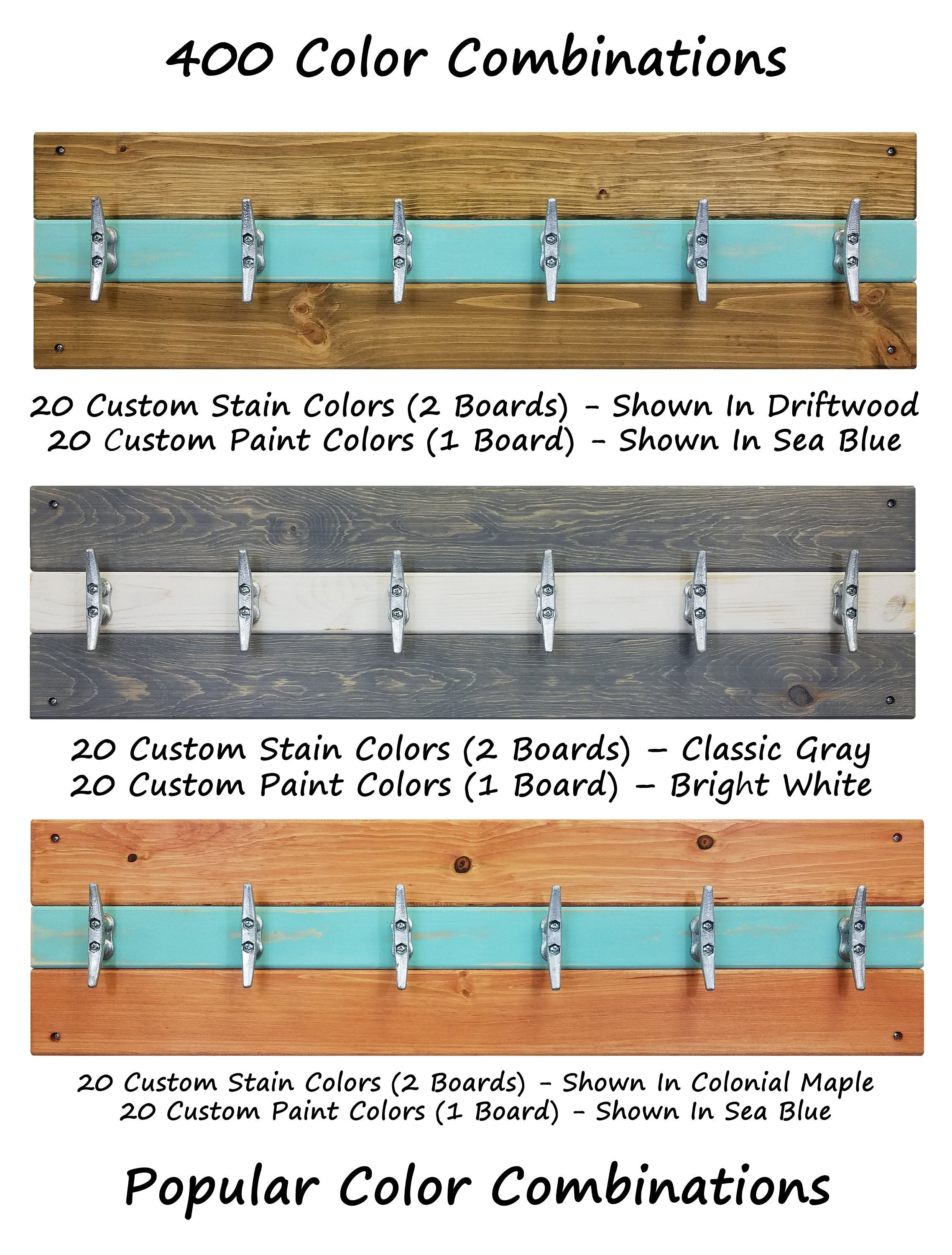 Cape May Boat Cleat Wall Hooks - 20 Stain Colors & 20 Accent Paint Colors - Renewed Decor & Storage