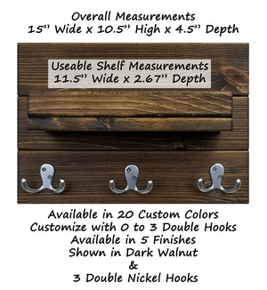 Calder Shelf with Hooks - 20 Stain Colors - Renewed Decor & Storage